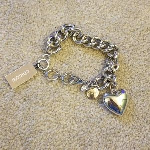 Chico's large silver heart charm bracelet